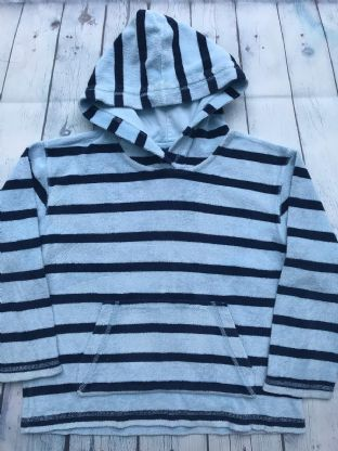Mini Boden blue stripey towelling hoodie age 7-8